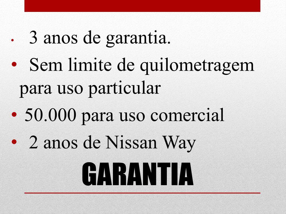 GARANTIA Sem limite de quilometragem para uso particular