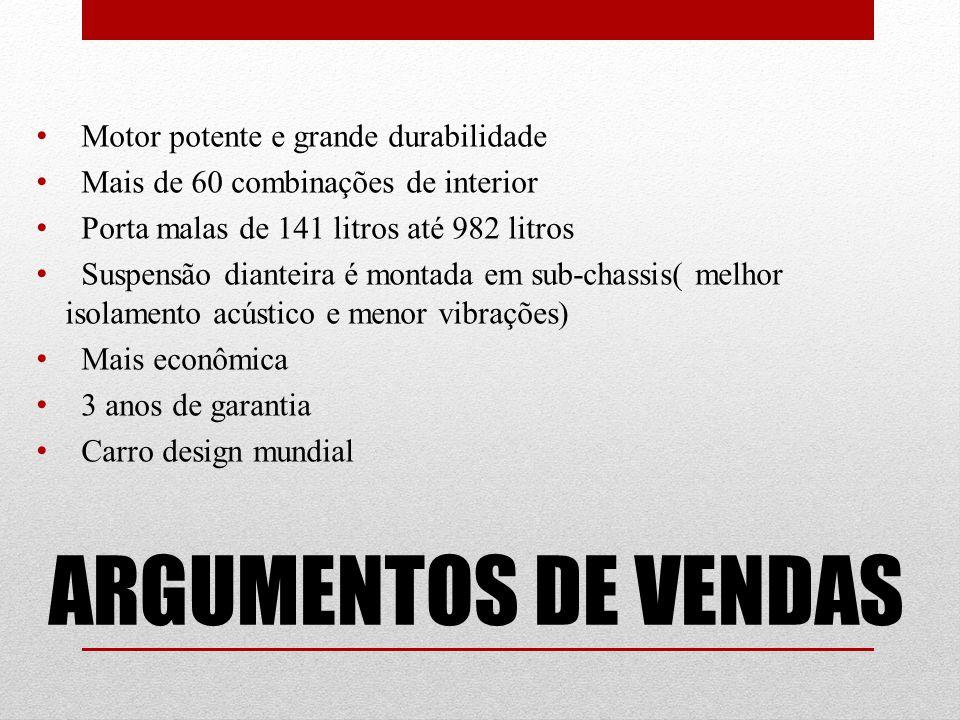 ARGUMENTOS DE VENDAS Motor potente e grande durabilidade