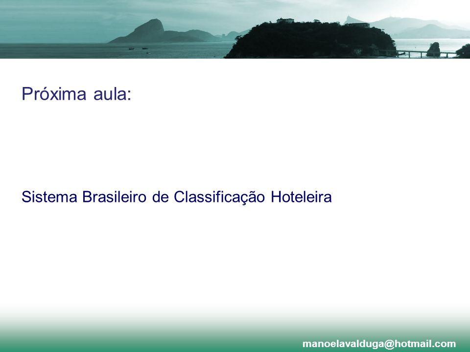 Próxima aula: Sistema Brasileiro de Classificação Hoteleira