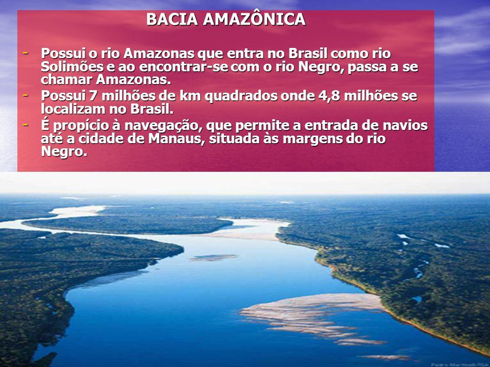BACIA AMAZÔNICA Possui o rio Amazonas que entra no Brasil como rio Solimões e ao encontrar-se com o rio Negro, passa a se chamar Amazonas.