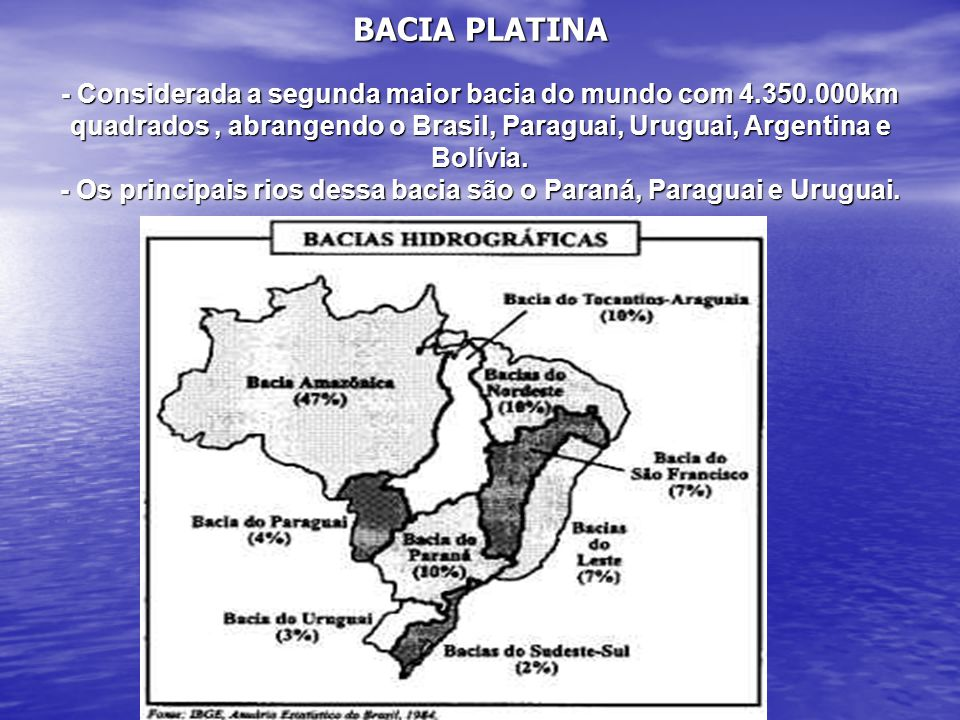 BACIA PLATINA - Considerada a segunda maior bacia do mundo com 4. 350