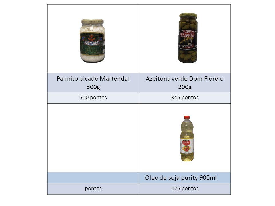 Palmito picado Martendal 300g Azeitona verde Dom Fiorelo 200g