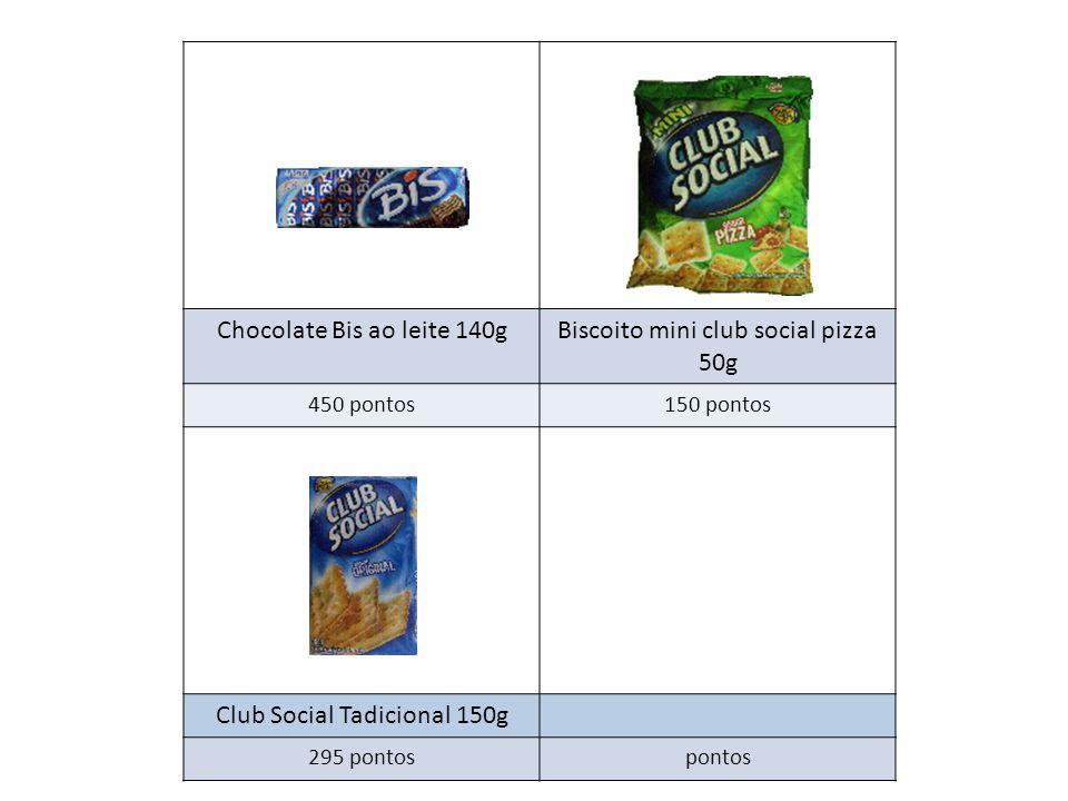Chocolate Bis ao leite 140g Biscoito mini club social pizza 50g