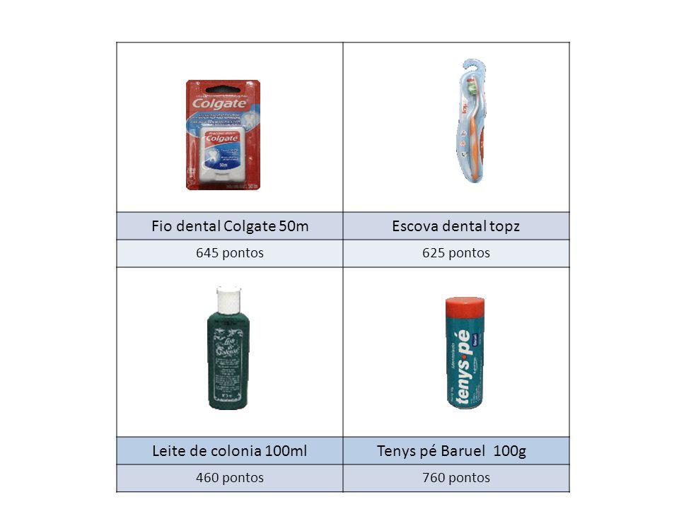 Fio dental Colgate 50m Escova dental topz Leite de colonia 100ml