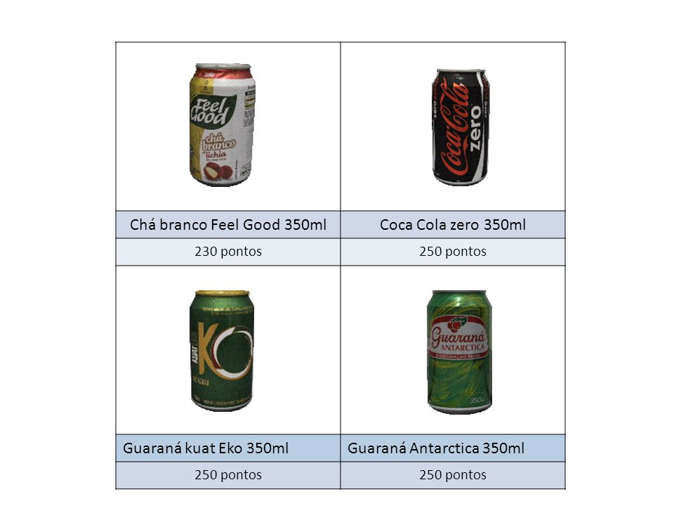 Chá branco Feel Good 350ml Coca Cola zero 350ml Guaraná kuat Eko 350ml