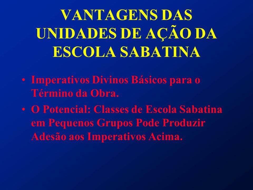 VANTAGENS DAS UNIDADES DE AÇÃO DA ESCOLA SABATINA