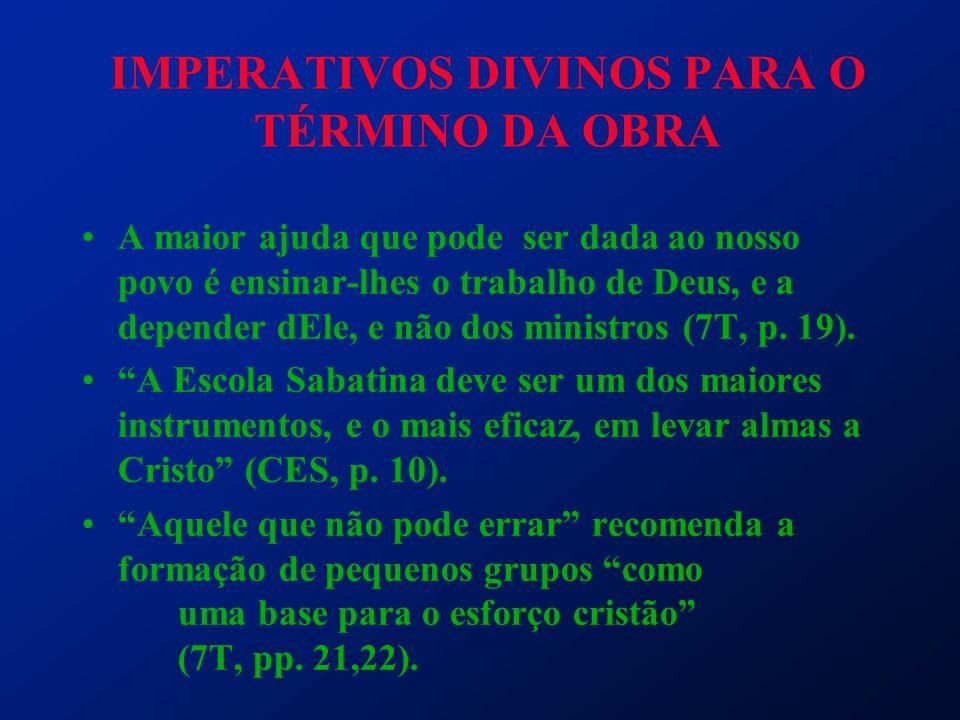 IMPERATIVOS DIVINOS PARA O TÉRMINO DA OBRA