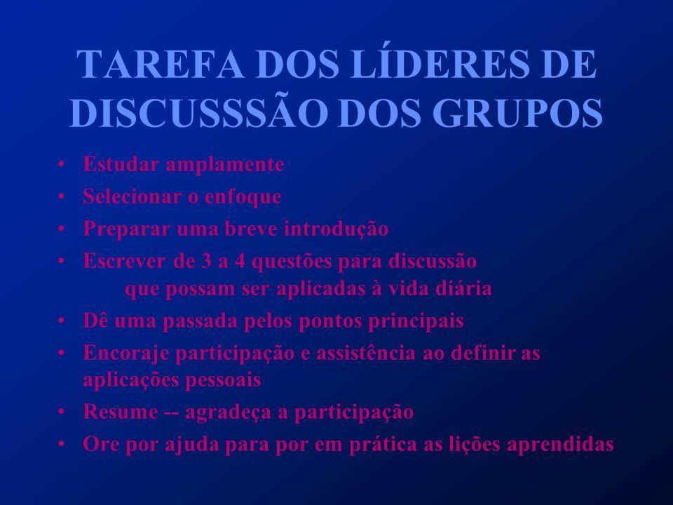 TAREFA DOS LÍDERES DE DISCUSSSÃO DOS GRUPOS