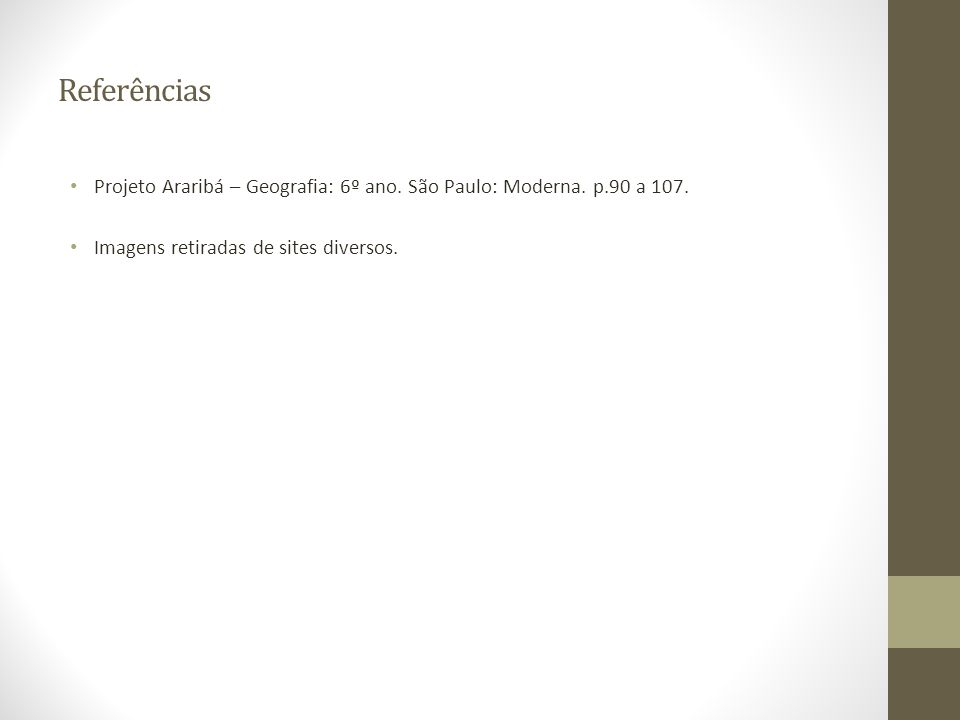 Referências Projeto Araribá – Geografia: 6º ano. São Paulo: Moderna.