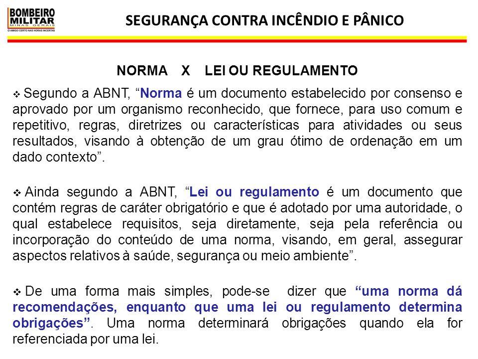SEGURANÇA CONTRA INCÊNDIO E PÂNICO NORMA X LEI OU REGULAMENTO