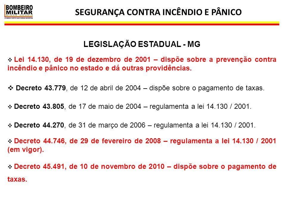 SEGURANÇA CONTRA INCÊNDIO E PÂNICO LEGISLAÇÃO ESTADUAL - MG