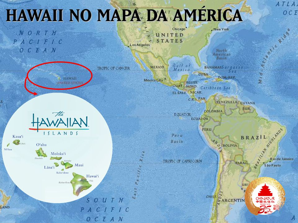 HAWAII NO MAPA DA AMÉRICA