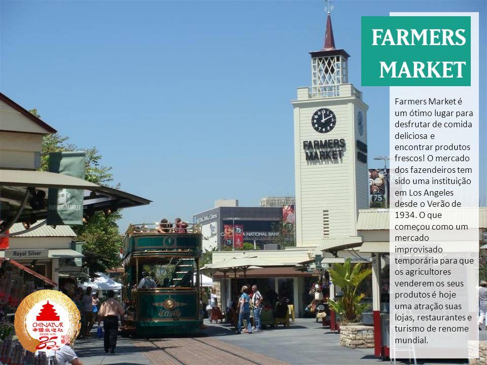 Farmers Market é um ótimo lugar para desfrutar de comida deliciosa e encontrar produtos frescos! O mercado dos fazendeiros tem sido uma instituição em Los Angeles desde o Verão de 1934. O que começou como um mercado improvisado temporária para que os agricultores venderem os seus produtos é hoje uma atração suas lojas, restaurantes e turismo de renome mundial.