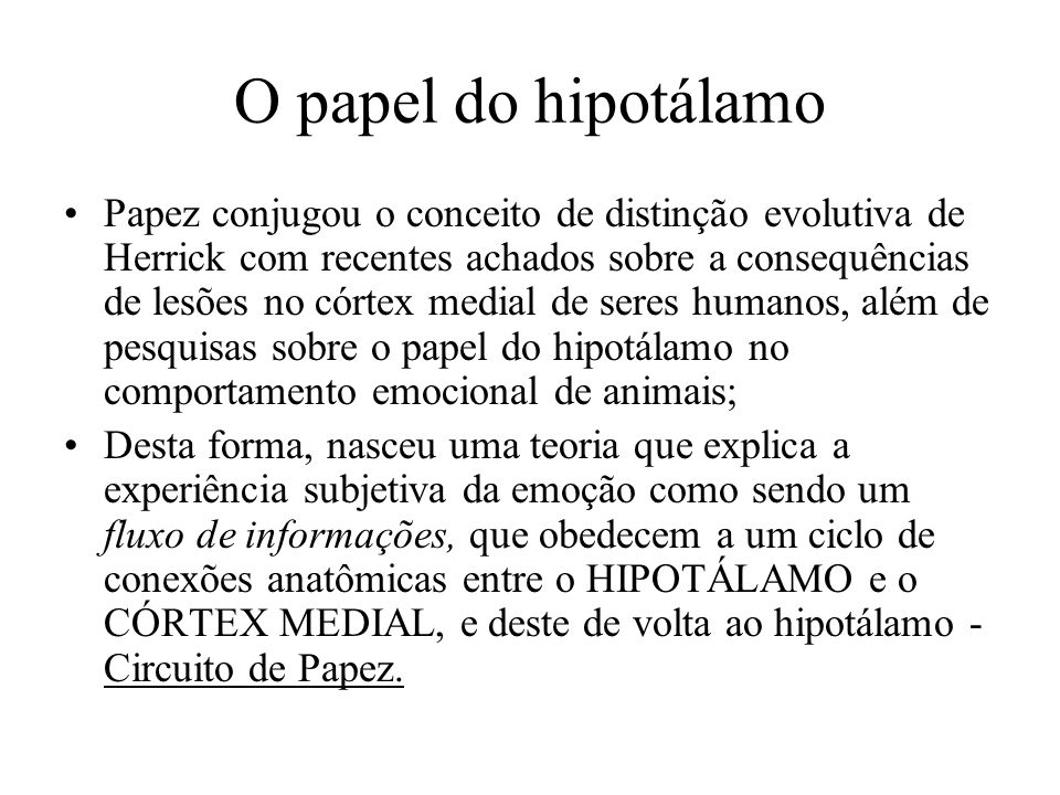 O papel do hipotálamo