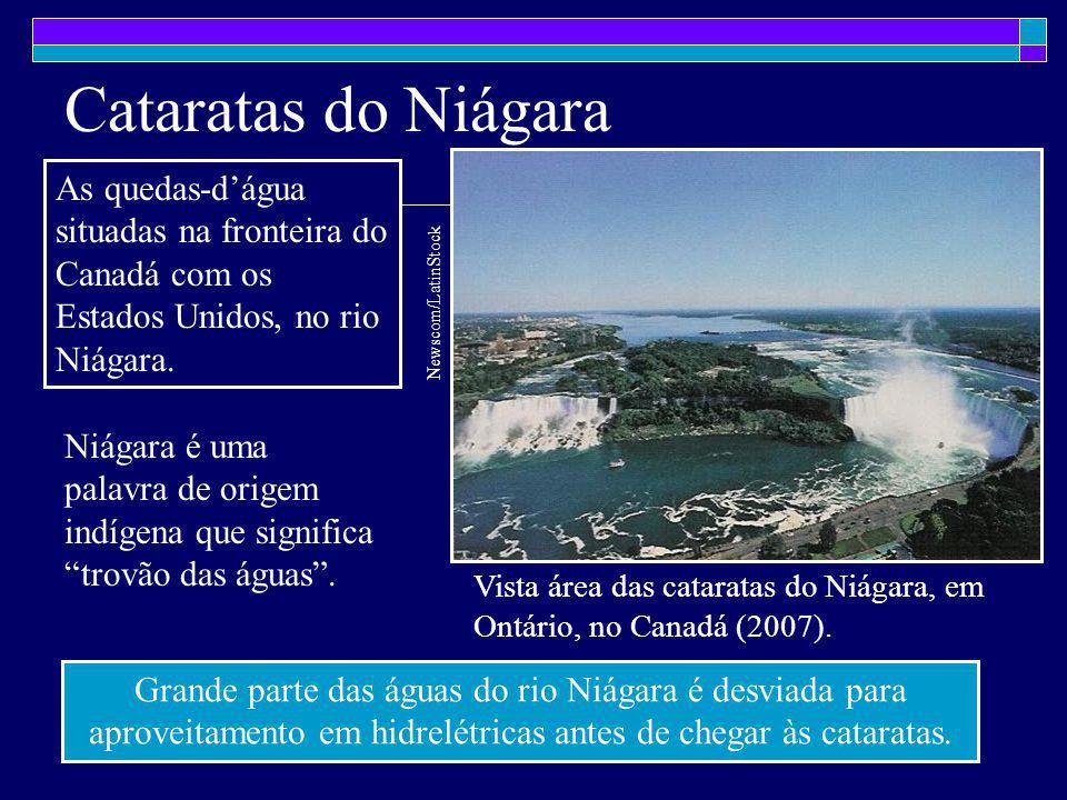 Cataratas do Niágara As quedas-d'água situadas na fronteira do Canadá com os Estados Unidos, no rio Niágara.