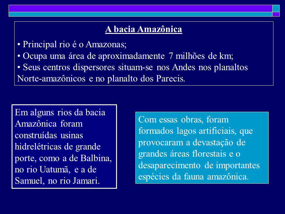 A bacia Amazônica Principal rio é o Amazonas; Ocupa uma área de aproximadamente 7 milhões de km;