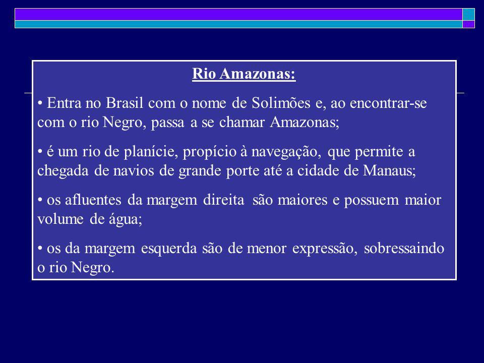Rio Amazonas: Entra no Brasil com o nome de Solimões e, ao encontrar-se com o rio Negro, passa a se chamar Amazonas;