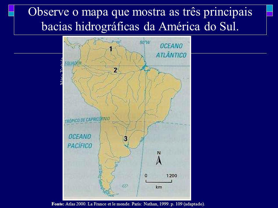 Observe o mapa que mostra as três principais bacias hidrográficas da América do Sul.