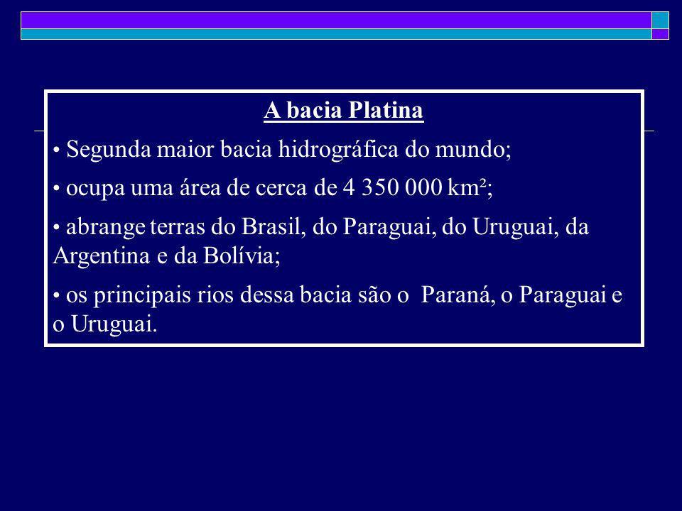 A bacia Platina Segunda maior bacia hidrográfica do mundo;
