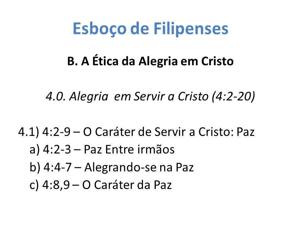 Esboço de Filipenses B. A Ética da Alegria em Cristo