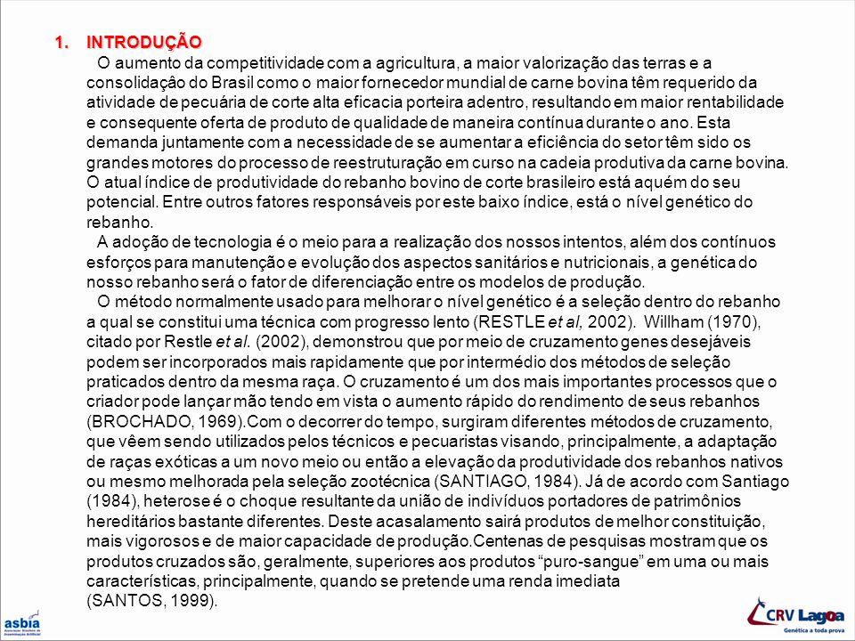 INTRODUÇÃO O aumento da competitividade com a agricultura, a maior valorização das terras e a consolidaçâo do Brasil como o maior fornecedor mundial de carne bovina têm requerido da atividade de pecuária de corte alta eficacia porteira adentro, resultando em maior rentabilidade e consequente oferta de produto de qualidade de maneira contínua durante o ano. Esta demanda juntamente com a necessidade de se aumentar a eficiência do setor têm sido os grandes motores do processo de reestruturação em curso na cadeia produtiva da carne bovina. O atual índice de produtividade do rebanho bovino de corte brasileiro está aquém do seu potencial. Entre outros fatores responsáveis por este baixo índice, está o nível genético do rebanho.