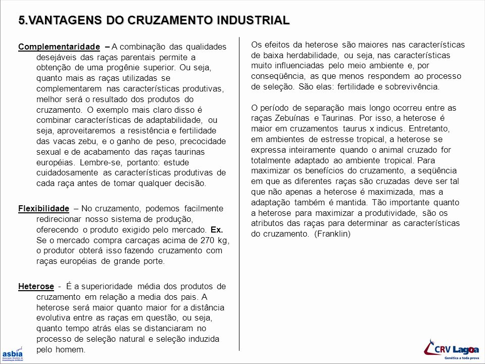 5.VANTAGENS DO CRUZAMENTO INDUSTRIAL