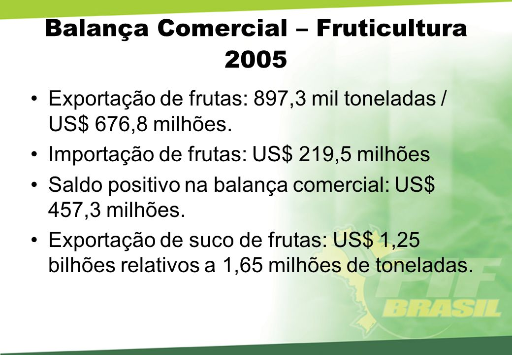 Balança Comercial – Fruticultura 2005