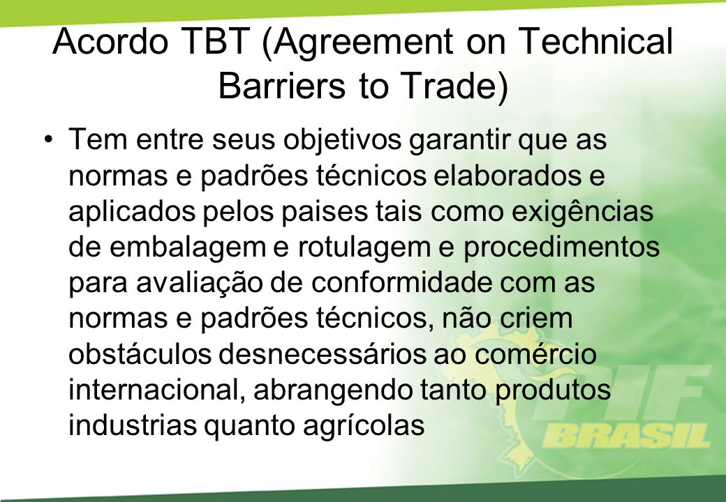Acordo TBT (Agreement on Technical Barriers to Trade)