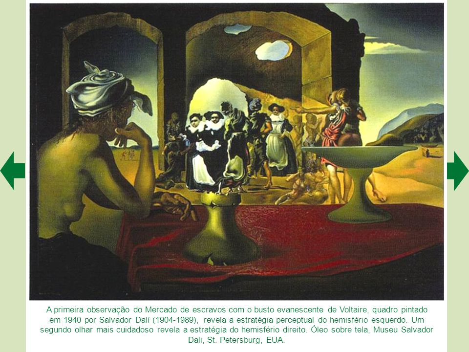 A primeira observação do Mercado de escravos com o busto evanescente de Voltaire, quadro pintado em 1940 por Salvador Dalí (1904-1989), revela a estratégia perceptual do hemisfério esquerdo.