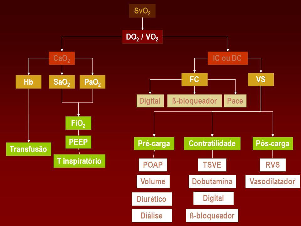SvO2 DO2 / VO2. CaO2. IC ou DC. FC. VS. Hb. SaO2. PaO2. Digital. ß-bloqueador. Pace. FiO2.