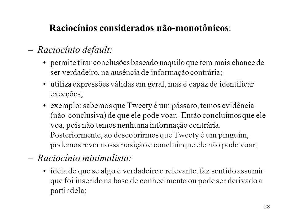 Raciocínios considerados não-monotônicos: