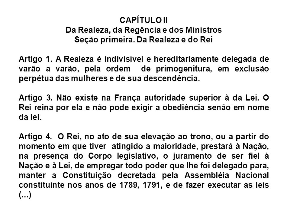 Da Realeza, da Regência e dos Ministros