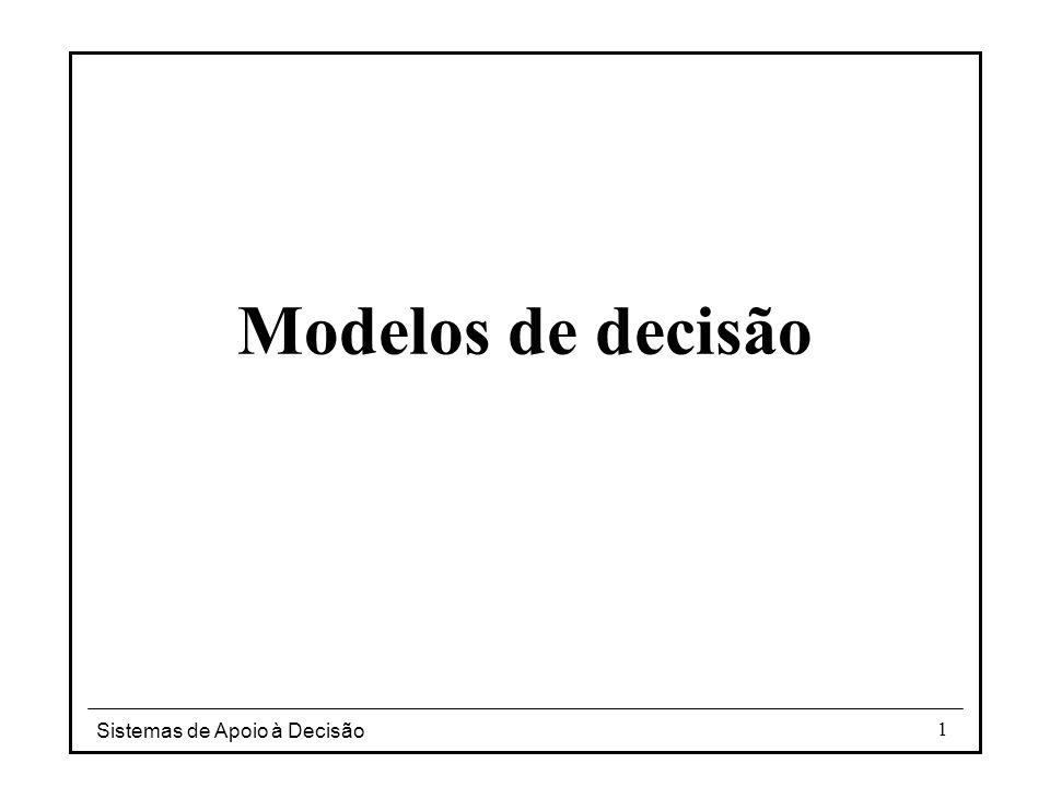 Modelos de decisão Sistemas de Apoio à Decisão