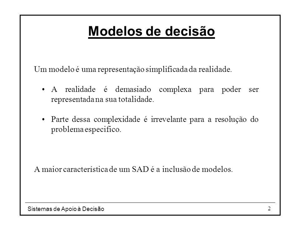 Modelos de decisão Um modelo é uma representação simplificada da realidade.