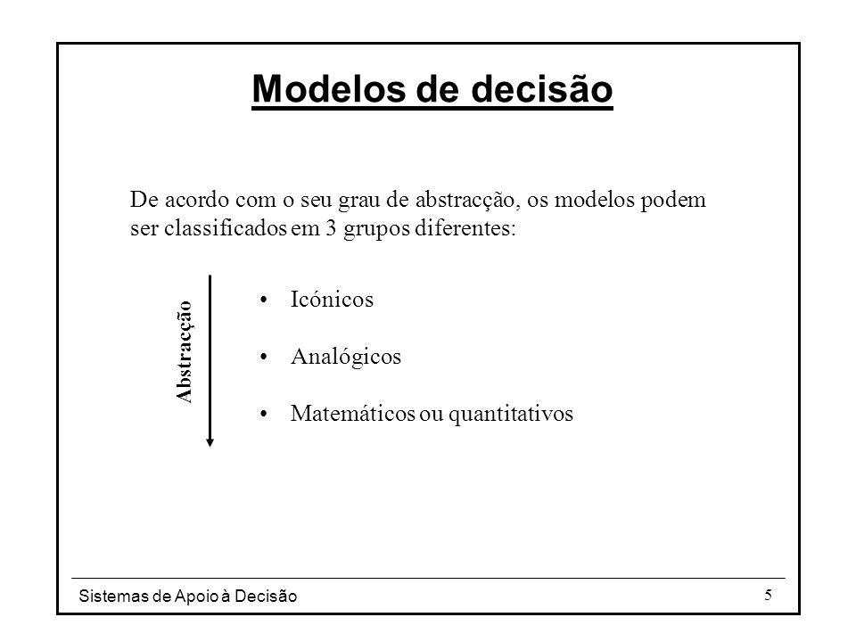 Modelos de decisão De acordo com o seu grau de abstracção, os modelos podem ser classificados em 3 grupos diferentes: