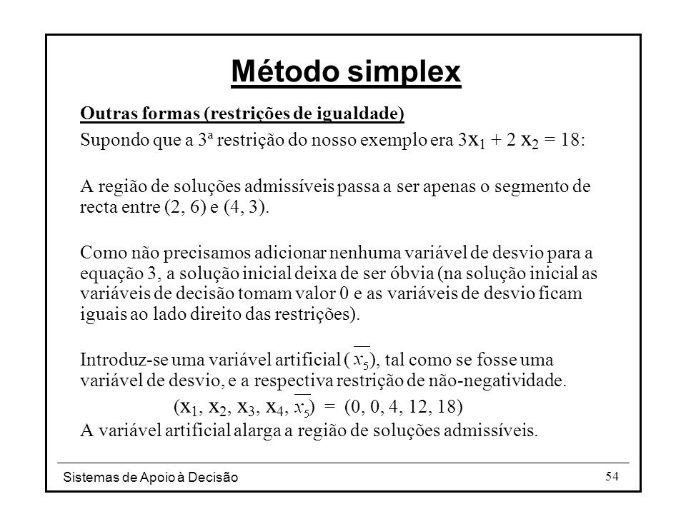 Método simplex Outras formas (restrições de igualdade)