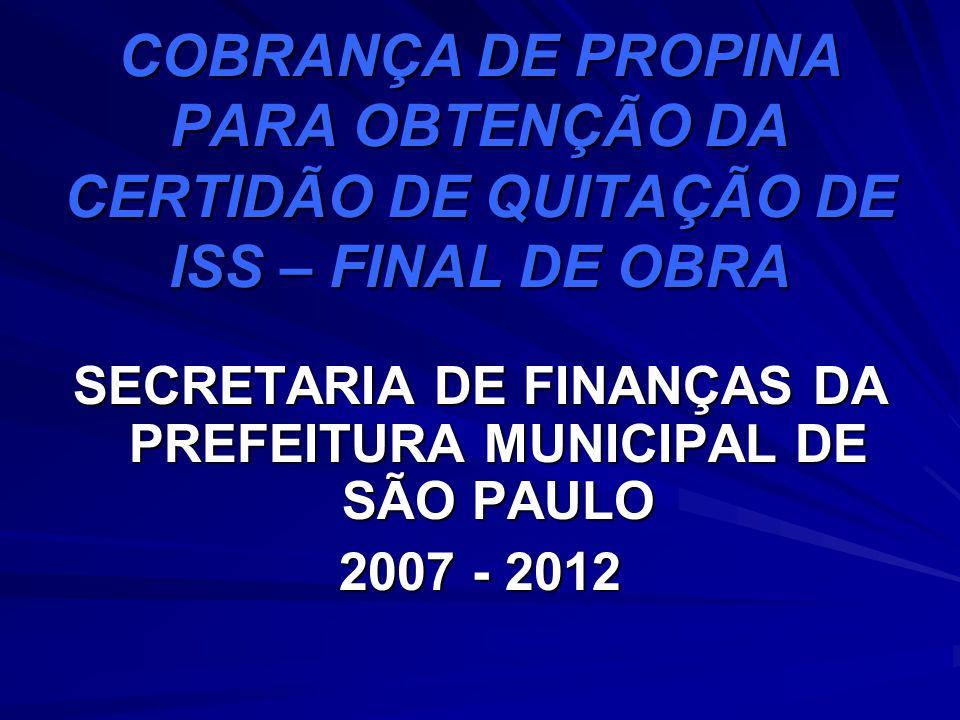 SECRETARIA DE FINANÇAS DA PREFEITURA MUNICIPAL DE SÃO PAULO