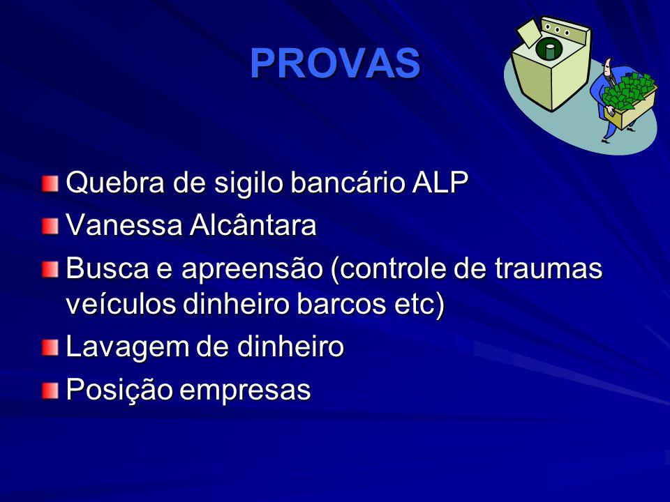 PROVAS Quebra de sigilo bancário ALP Vanessa Alcântara