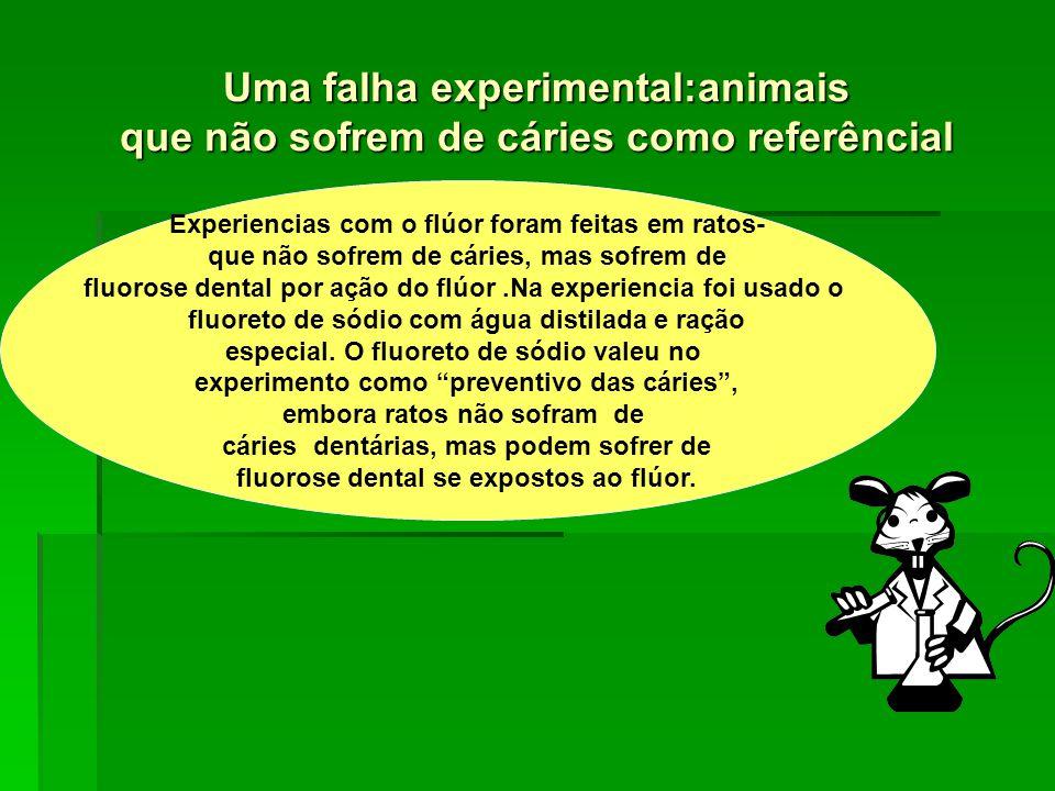 Uma falha experimental:animais que não sofrem de cáries como referêncial