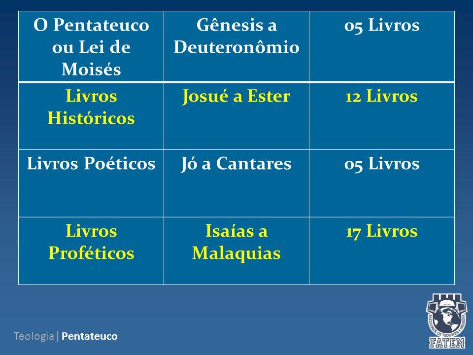 O Pentateuco ou Lei de Moisés Gênesis a Deuteronômio