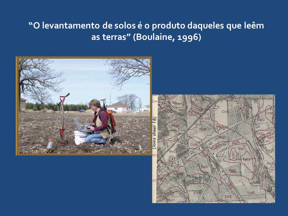 O levantamento de solos é o produto daqueles que leêm as terras (Boulaine, 1996)