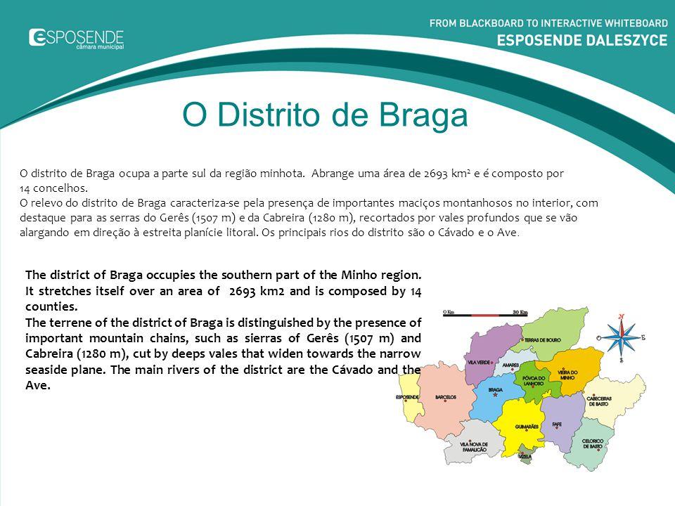O Distrito de Braga O distrito de Braga ocupa a parte sul da região minhota. Abrange uma área de 2693 km2 e é composto por