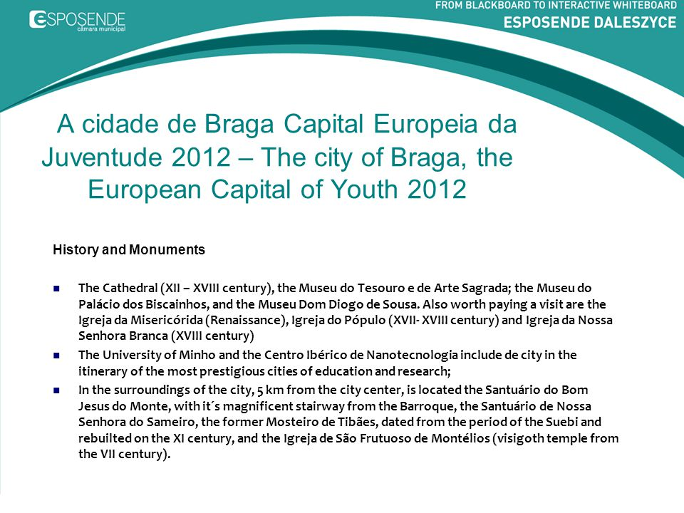 A cidade de Braga Capital Europeia da Juventude 2012 – The city of Braga, the European Capital of Youth 2012