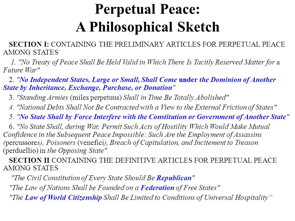 Perpetual Peace: A Philosophical Sketch