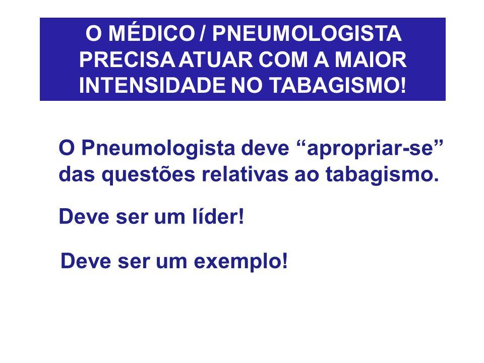 O MÉDICO / PNEUMOLOGISTA PRECISA ATUAR COM A MAIOR INTENSIDADE NO TABAGISMO!