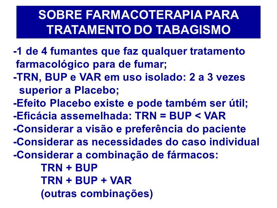 SOBRE FARMACOTERAPIA PARA TRATAMENTO DO TABAGISMO