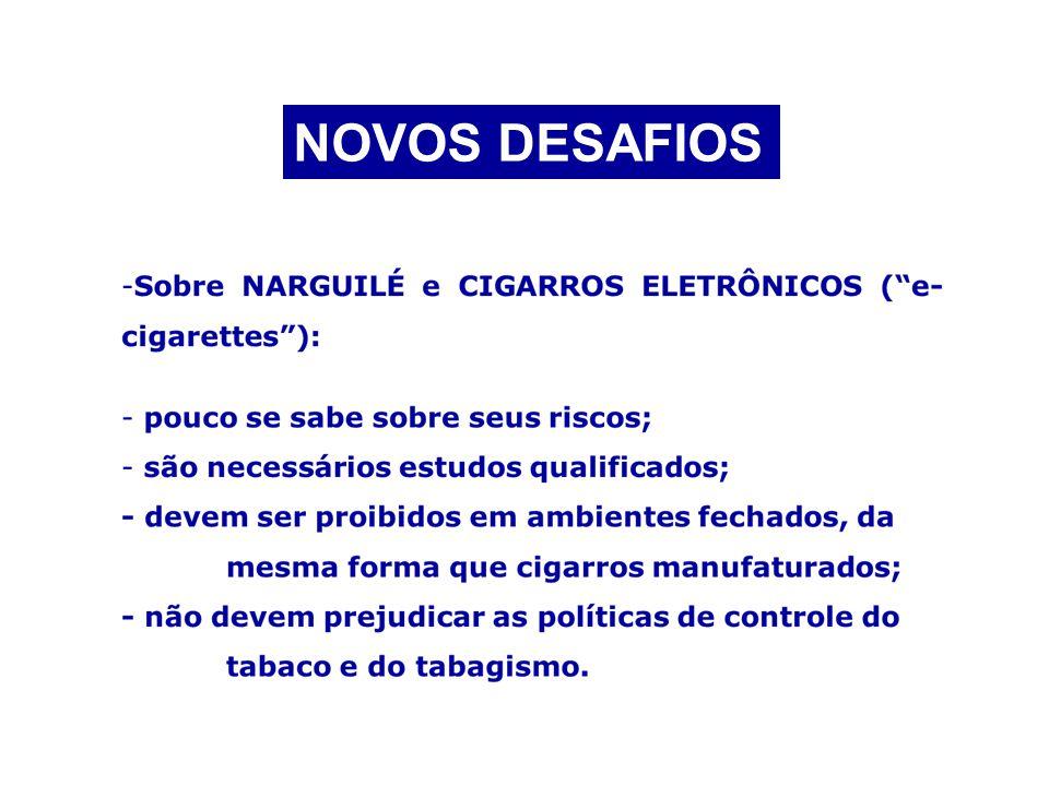 NOVOS DESAFIOS Sobre NARGUILÉ e CIGARROS ELETRÔNICOS ( e-cigarettes ):