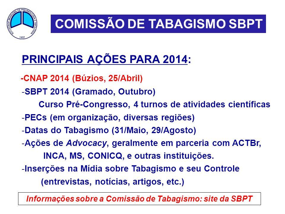 Informações sobre a Comissão de Tabagismo: site da SBPT