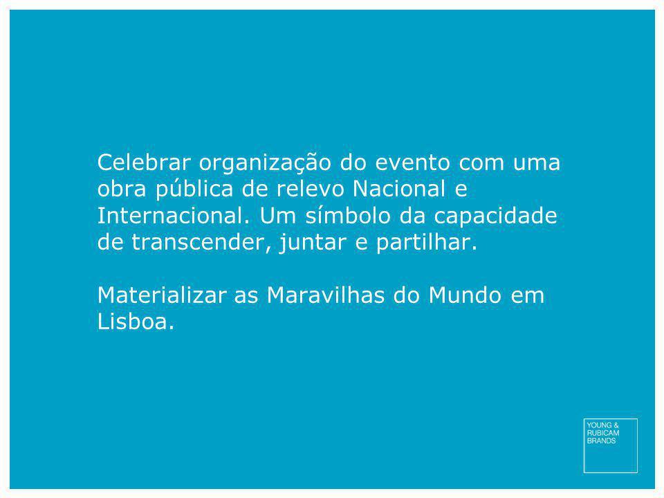 Celebrar organização do evento com uma obra pública de relevo Nacional e Internacional. Um símbolo da capacidade de transcender, juntar e partilhar.