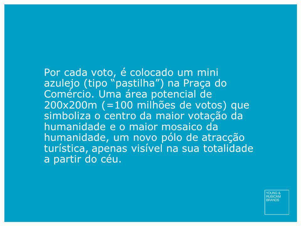 Por cada voto, é colocado um mini azulejo (tipo pastilha ) na Praça do Comércio.
